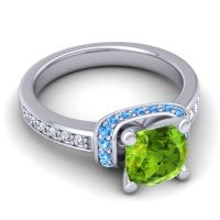 Halo Cushion Aksika Peridot Ring with Swiss Blue Topaz and Diamond in 18k White Gold