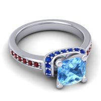 Halo Cushion Aksika Swiss Blue Topaz Ring with Blue Sapphire and Garnet in Platinum