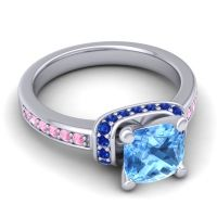 Halo Cushion Aksika Swiss Blue Topaz Ring with Blue Sapphire and Pink Tourmaline in Palladium