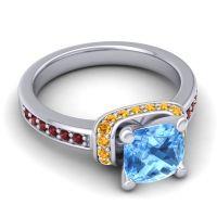 Halo Cushion Aksika Swiss Blue Topaz Ring with Citrine and Garnet in Palladium