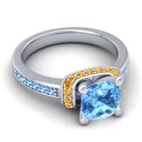 Halo Cushion Aksika Swiss Blue Topaz Ring with Citrine in 18k White Gold