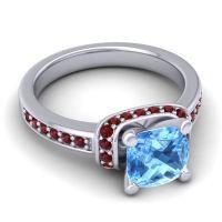 Halo Cushion Aksika Swiss Blue Topaz Ring with Garnet in 14k White Gold