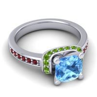 Halo Cushion Aksika Swiss Blue Topaz Ring with Peridot and Garnet in 14k White Gold