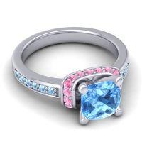 Halo Cushion Aksika Swiss Blue Topaz Ring with Pink Tourmaline and Aquamarine in 18k White Gold