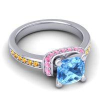 Halo Cushion Aksika Swiss Blue Topaz Ring with Pink Tourmaline and Citrine in Palladium