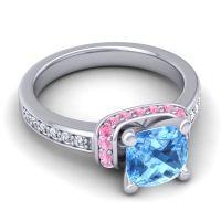 Halo Cushion Aksika Swiss Blue Topaz Ring with Pink Tourmaline and Diamond in Platinum