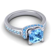 Halo Cushion Aksika Swiss Blue Topaz Ring with Aquamarine in 18k White Gold