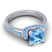 Halo Cushion Aksika Swiss Blue Topaz Ring in Platinum