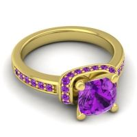 Halo Cushion Aksika Amethyst Ring in 14k Yellow Gold