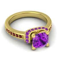Halo Cushion Aksika Amethyst Ring with Garnet in 18k Yellow Gold