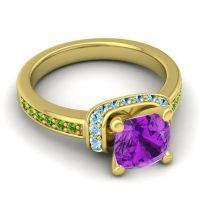 Halo Cushion Aksika Amethyst Ring with Aquamarine and Peridot in 18k Yellow Gold