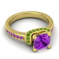 Halo Cushion Aksika Amethyst Ring with Peridot in 18k Yellow Gold
