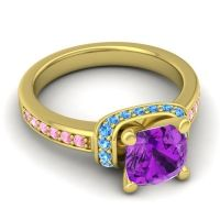 Halo Cushion Aksika Amethyst Ring with Swiss Blue Topaz and Pink Tourmaline in 14k Yellow Gold
