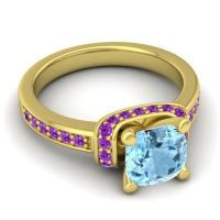 Halo Cushion Aksika Aquamarine Ring with Amethyst in 18k Yellow Gold
