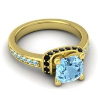 Halo Cushion Aksika Aquamarine Ring with Black Onyx in 18k Yellow Gold