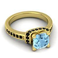 Halo Cushion Aksika Aquamarine Ring with Black Onyx in 14k Yellow Gold