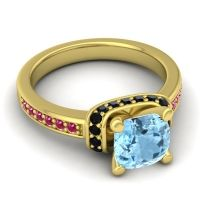 Halo Cushion Aksika Aquamarine Ring with Black Onyx and Ruby in 14k Yellow Gold