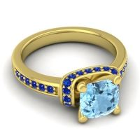 Halo Cushion Aksika Aquamarine Ring with Blue Sapphire in 18k Yellow Gold
