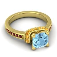 Halo Cushion Aksika Aquamarine Ring with Citrine and Garnet in 18k Yellow Gold