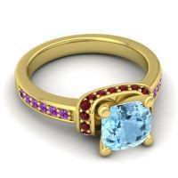 Halo Cushion Aksika Aquamarine Ring with Garnet and Amethyst in 14k Yellow Gold
