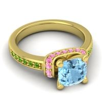 Halo Cushion Aksika Aquamarine Ring with Pink Tourmaline and Peridot in 14k Yellow Gold