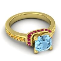 Halo Cushion Aksika Aquamarine Ring with Ruby and Citrine in 14k Yellow Gold