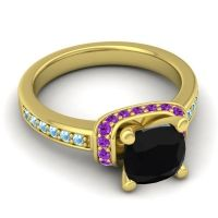 Halo Cushion Aksika Black Onyx Ring with Amethyst and Aquamarine in 14k Yellow Gold