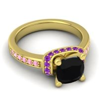 Halo Cushion Aksika Black Onyx Ring with Amethyst and Pink Tourmaline in 14k Yellow Gold