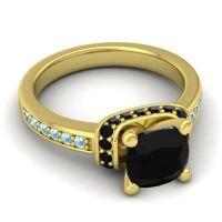 Halo Cushion Aksika Black Onyx Ring with Aquamarine in 18k Yellow Gold