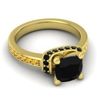 Halo Cushion Aksika Black Onyx Ring with Citrine in 14k Yellow Gold