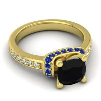 Halo Cushion Aksika Black Onyx Ring with Blue Sapphire and Diamond in 14k Yellow Gold