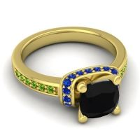 Halo Cushion Aksika Black Onyx Ring with Blue Sapphire and Peridot in 18k Yellow Gold
