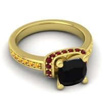 Halo Cushion Aksika Black Onyx Ring with Garnet and Citrine in 14k Yellow Gold