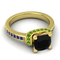 Halo Cushion Aksika Black Onyx Ring with Peridot and Blue Sapphire in 18k Yellow Gold