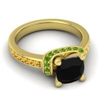 Halo Cushion Aksika Black Onyx Ring with Peridot and Citrine in 14k Yellow Gold