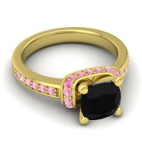 Halo Cushion Aksika Black Onyx Ring with Pink Tourmaline in 18k Yellow Gold
