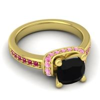 Halo Cushion Aksika Black Onyx Ring with Pink Tourmaline and Ruby in 14k Yellow Gold