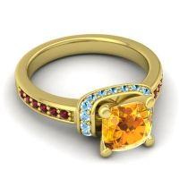 Halo Cushion Aksika Citrine Ring with Aquamarine and Garnet in 14k Yellow Gold