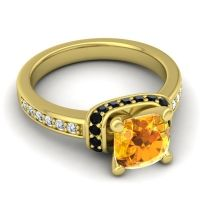 Halo Cushion Aksika Citrine Ring with Black Onyx and Diamond in 18k Yellow Gold