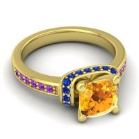 Halo Cushion Aksika Citrine Ring with Blue Sapphire and Amethyst in 14k Yellow Gold