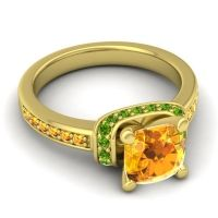 Halo Cushion Aksika Citrine Ring with Peridot in 14k Yellow Gold