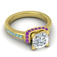 Halo Cushion Aksika Diamond Ring with Amethyst and Swiss Blue Topaz in 14k Yellow Gold