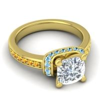 Halo Cushion Aksika Diamond Ring with Aquamarine and Citrine in 18k Yellow Gold