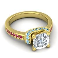 Halo Cushion Aksika Diamond Ring with Aquamarine and Ruby in 18k Yellow Gold