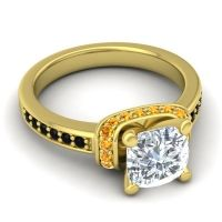 Halo Cushion Aksika Diamond Ring with Citrine and Black Onyx in 18k Yellow Gold
