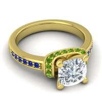 Halo Cushion Aksika Diamond Ring with Peridot and Blue Sapphire in 14k Yellow Gold