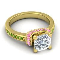 Halo Cushion Aksika Diamond Ring with Pink Tourmaline and Peridot in 14k Yellow Gold