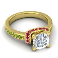 Halo Cushion Aksika Diamond Ring with Ruby and Peridot in 18k Yellow Gold