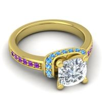 Halo Cushion Aksika Diamond Ring with Swiss Blue Topaz and Amethyst in 18k Yellow Gold