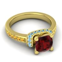 Halo Cushion Aksika Garnet Ring with Aquamarine and Citrine in 18k Yellow Gold